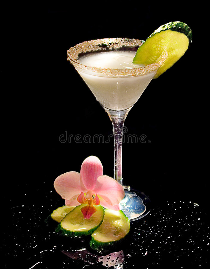 Dairy cocktail with a cucumber royalty free stock photo