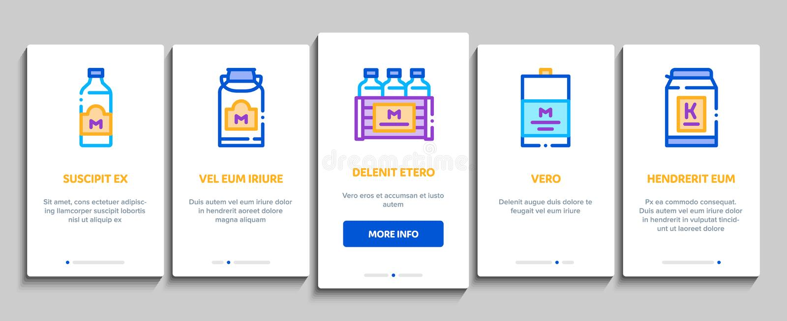 Dairy Drink And Food Onboarding Elements Icons Set Vector 库存例证