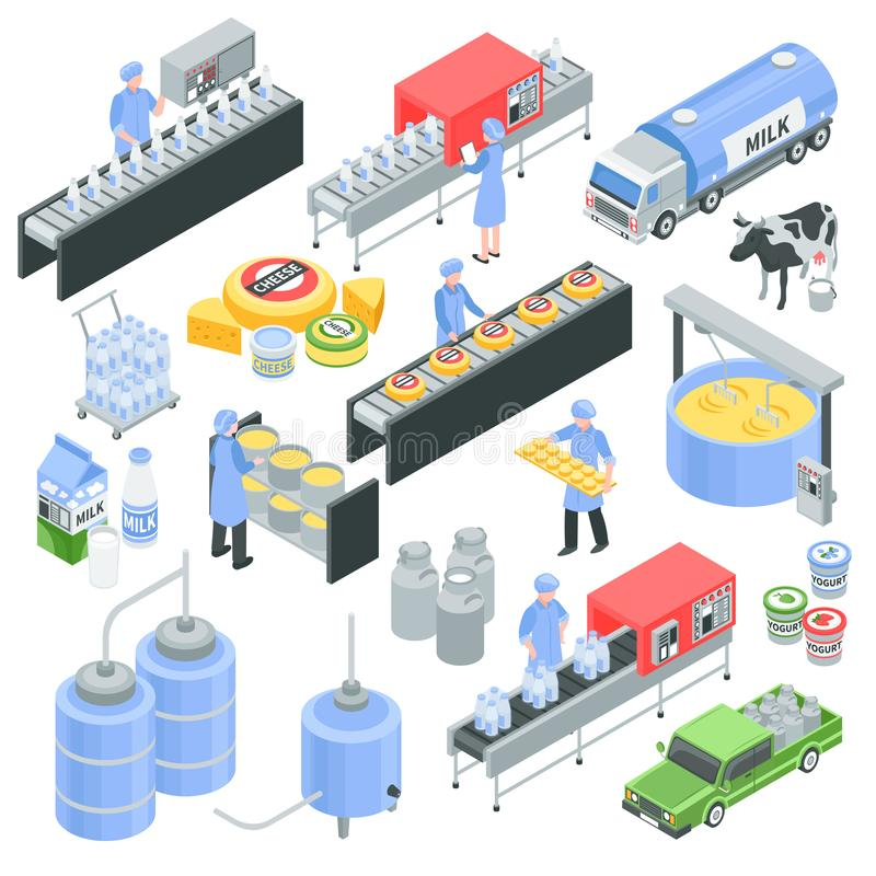 Dairy Factory Isometric Set. Dairy factory isometric icons with pouring milk in bottle, cheese production, transportation for delivery isolated vector stock illustration