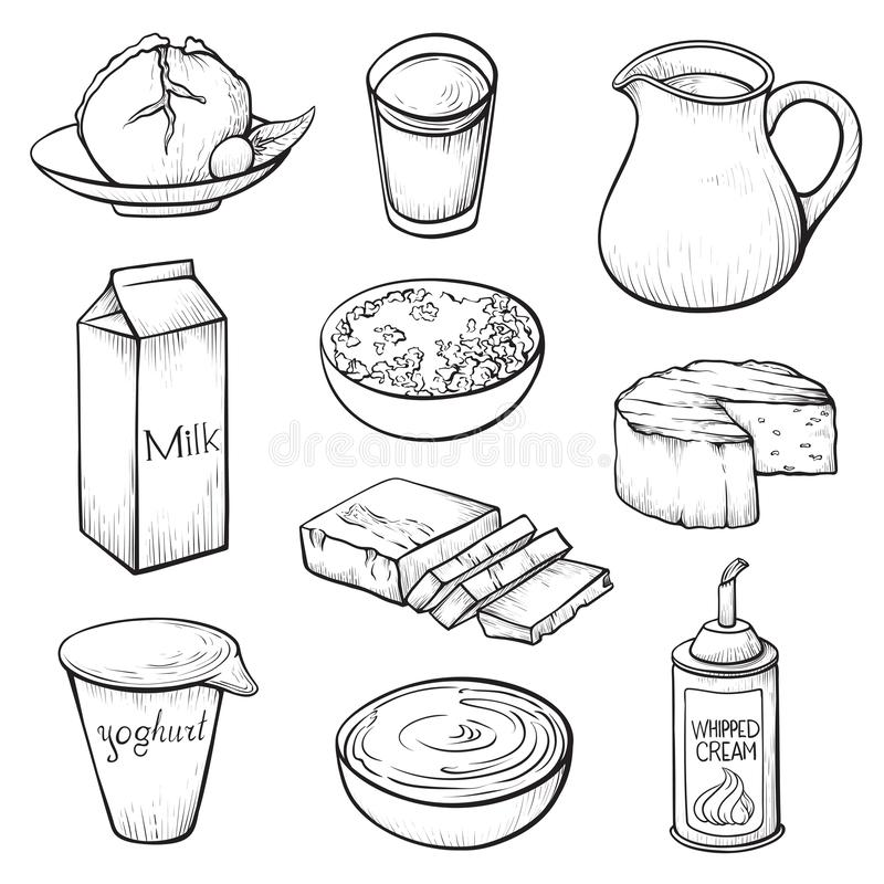 Dairy farm products hand drawn vector illustrations set stock illustration