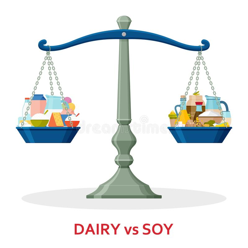 Dairy food and soy food on balanced scale. Healthy lifestyle concept. Vector illustration stock illustration