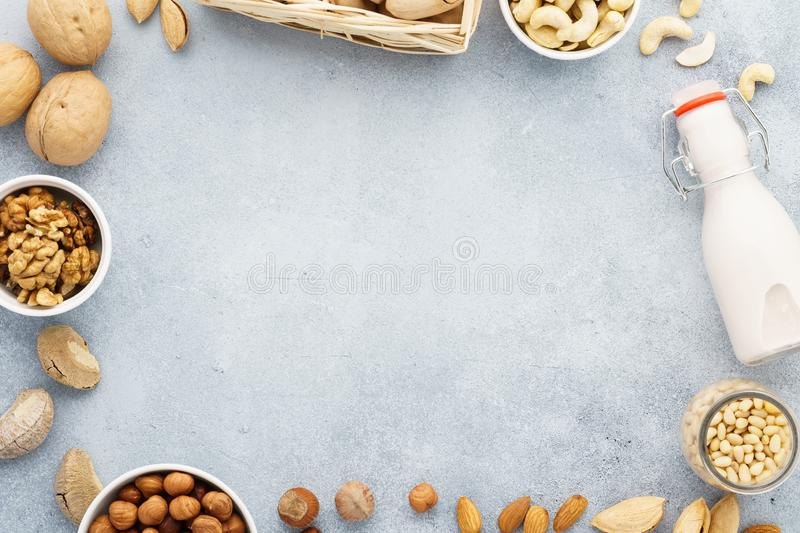 Dairy free milk substitute and ingredients. Various raw nuts royalty free stock photography