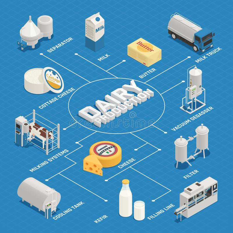 Dairy Industry Isometric Flowchart. Dairy production milk factory isometric flowchart composition with isolated images of dairy products and production vector illustration