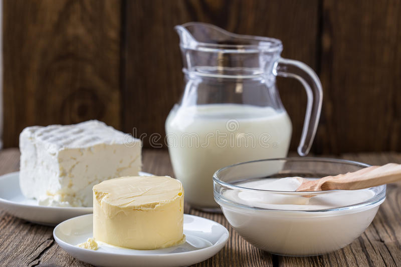 Dairy milk products stock photos