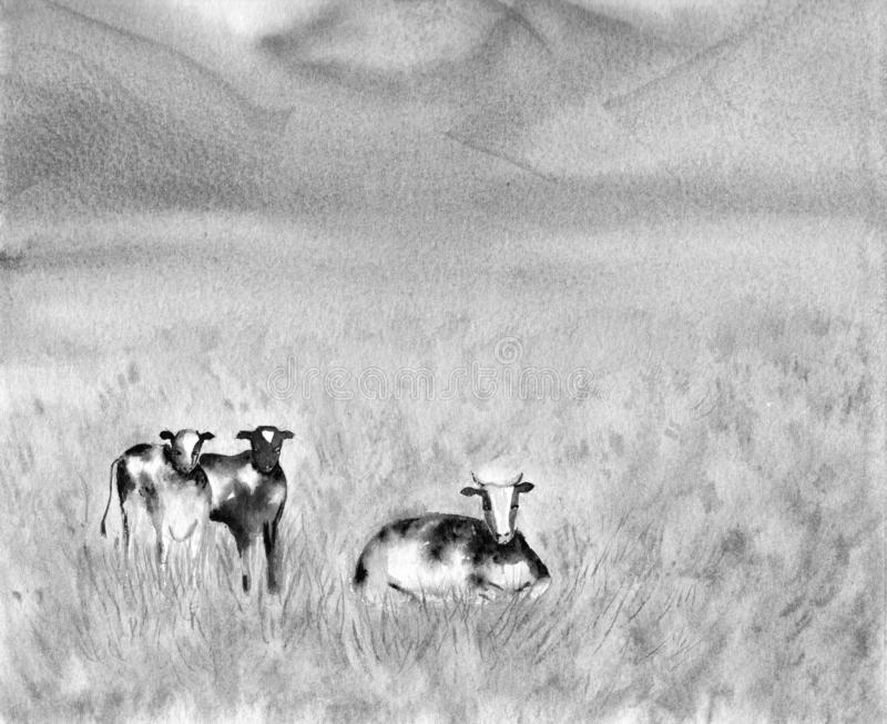 Dairy Pasturing Holstein Friesian black and white cows in a grassy field. Summer Rural scene. Alpine background. Watercolor. Illustration. Landscape in The stock illustration