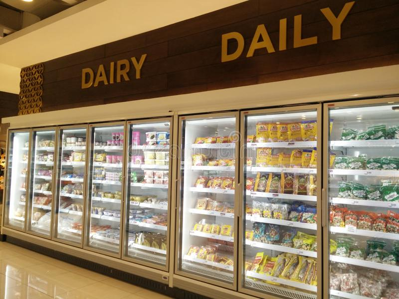 Bekasi, West Java/Indonesia March 10 2019: dairy product at supermarket royalty free stock photography