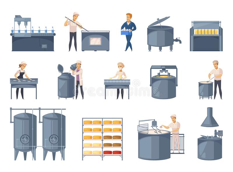 Dairy Production Cartoon Icons Set vector illustration