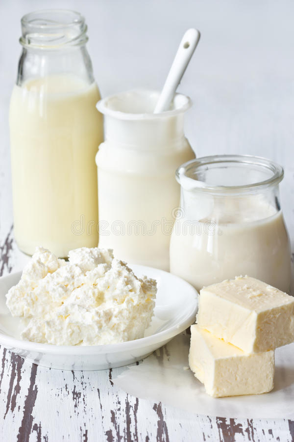 Dairy products. stock photo