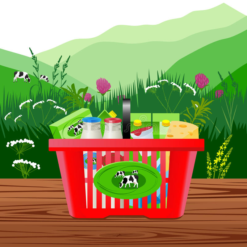 Dairy products on a background of alpine meadows. Vector Illustration. Dairy products on a background of alpine meadows vector illustration