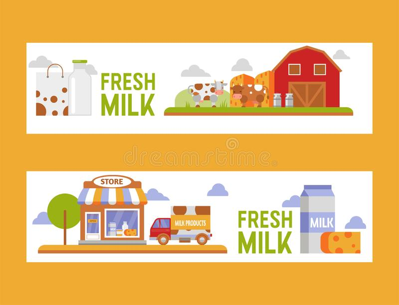 Dairy products, cheese and drinking milk, farm production vector illustration. Dairy products, milk based nutrition vector illustration