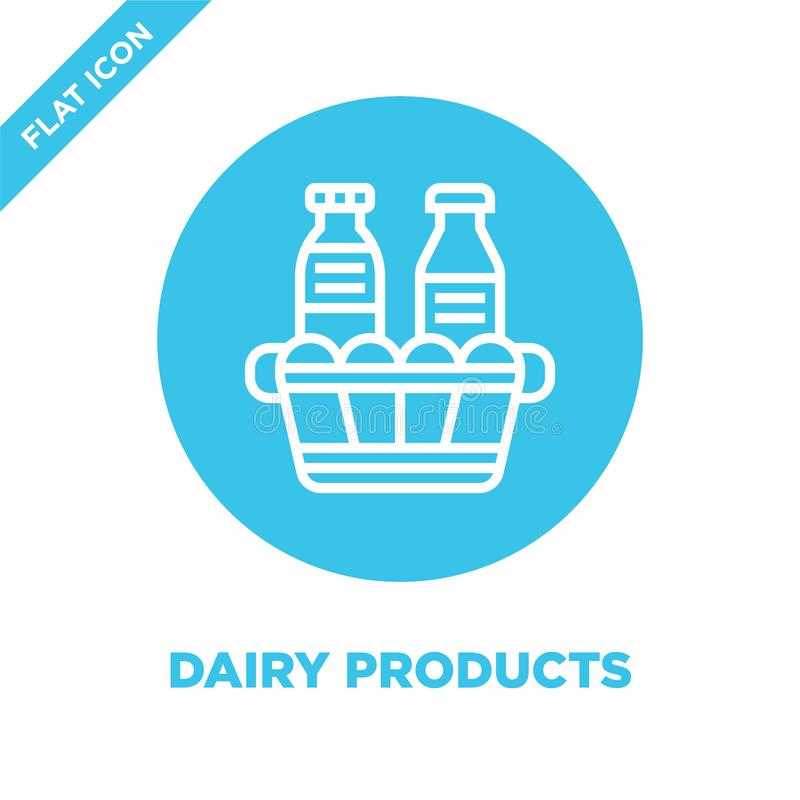Dairy products icon vector from bbq and grill collection. Thin line dairy products outline icon vector  illustration. Linear. Symbol for use on web and mobile stock illustration