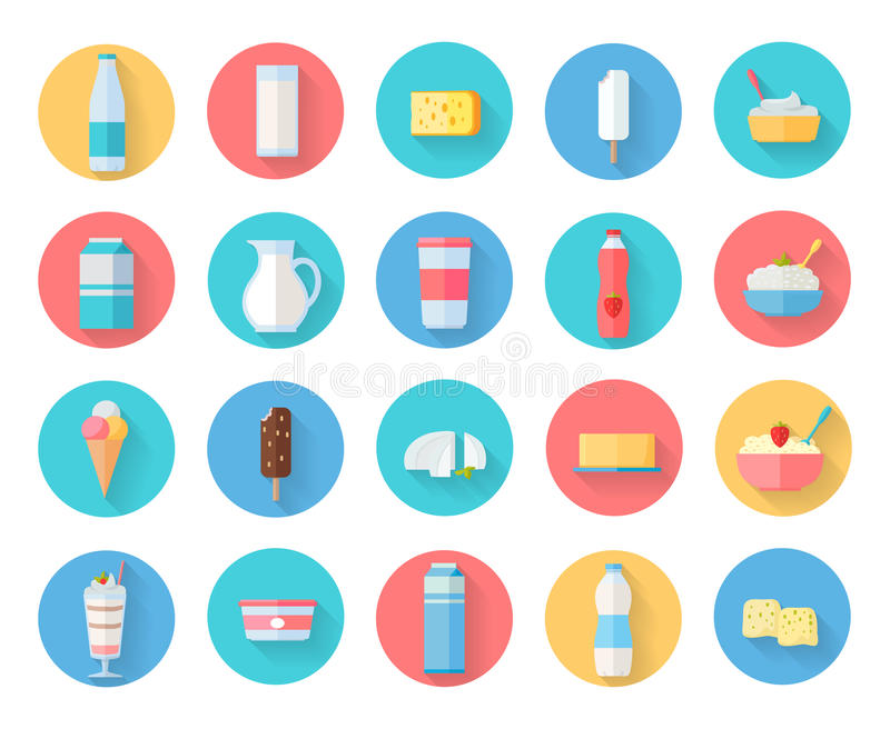 Dairy Products Icons Set royalty free illustration