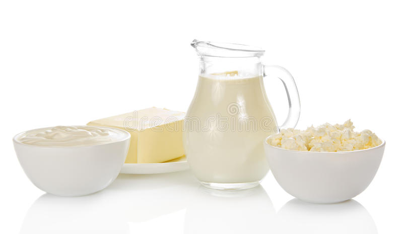 Dairy products. Isolated on white royalty free stock image