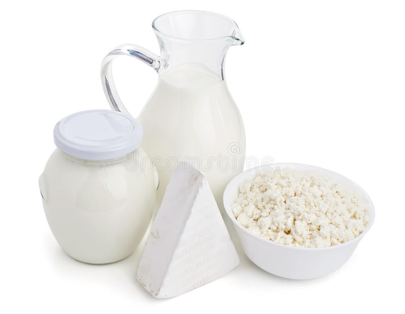 Dairy products isolated on white stock photography