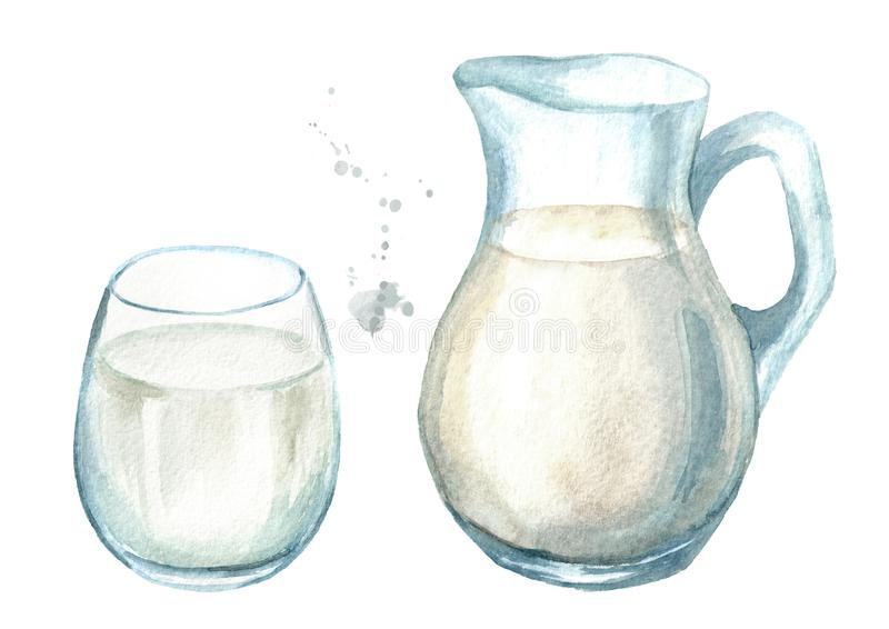 Dairy products. Jug with milk and glass. Watercolor hand drawn illustration, isolated on white background. Dairy products. Jug with milk and glass. Watercolor royalty free illustration