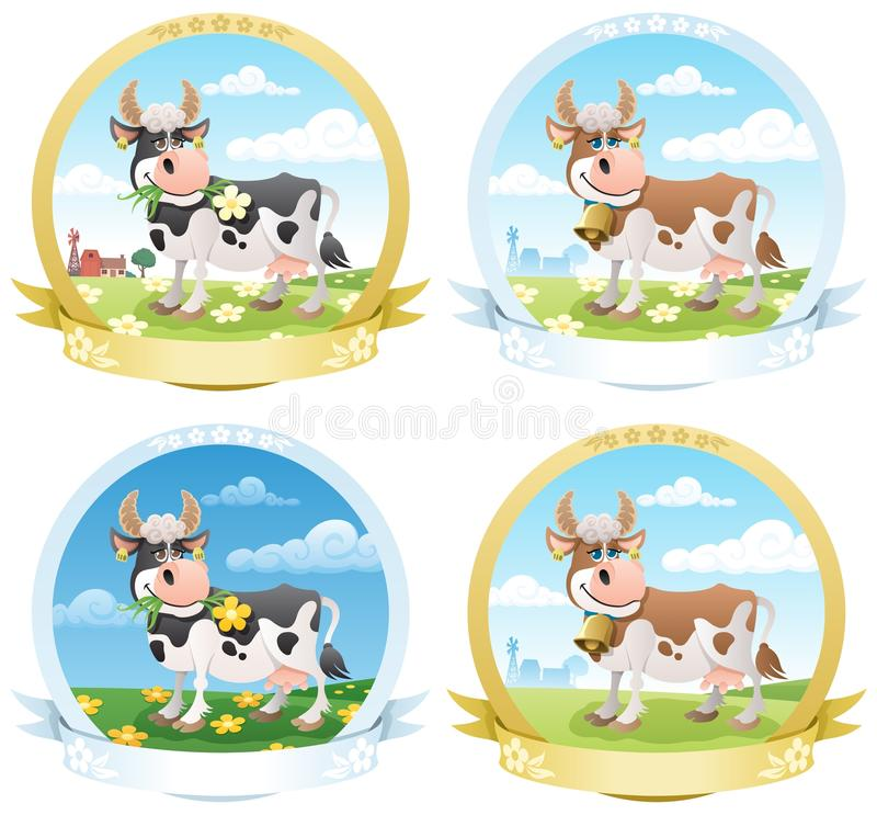 Download Dairy Products Labels stock vector. Image of animal, cover - 19756936