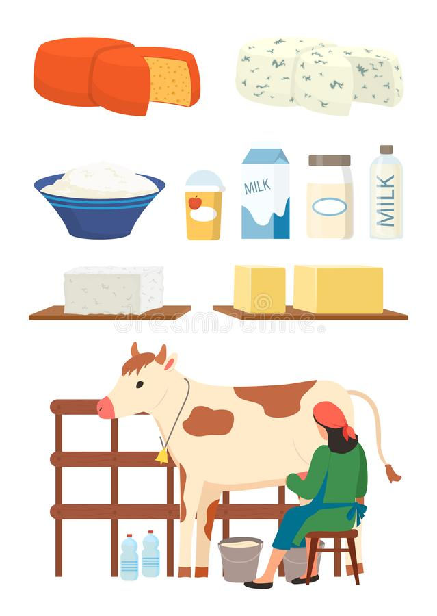 Dairy Products Milk and Cottage Cheese Vector. Milkmaid and dairy products set vector, isolated woman with cow, cottage cheese and milk in packages and bottles stock illustration