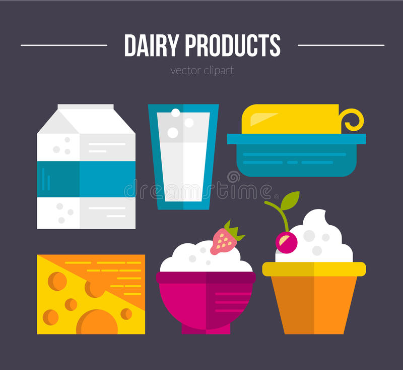Dairy Products. Milk industry flat icons and symbols made in vector, including butter, milk, yogurt. Dairy products. Dairy farm elements for banner, template vector illustration