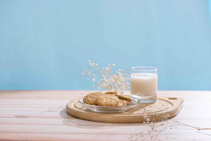 Dairy products. Pastry organic breakfast with milk and cookies. stock photos