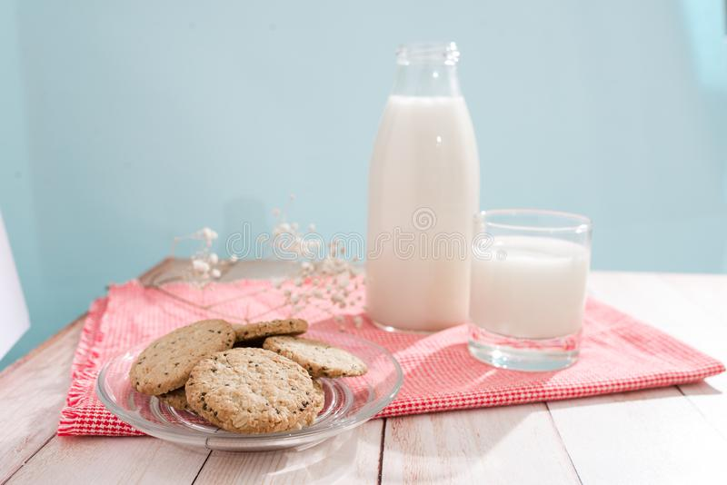 Dairy products. Pastry organic breakfast with milk and cookies. royalty free stock photo