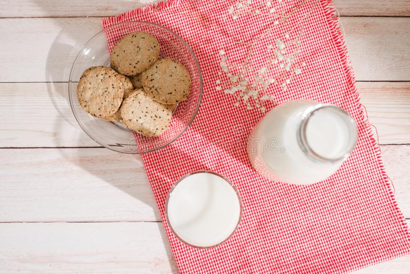 Dairy products. Pastry organic breakfast with milk and cookies. royalty free stock image