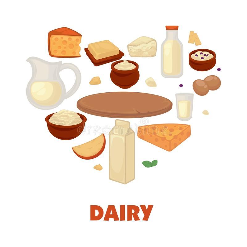 Dairy products on promotional poster in heart shape stock illustration