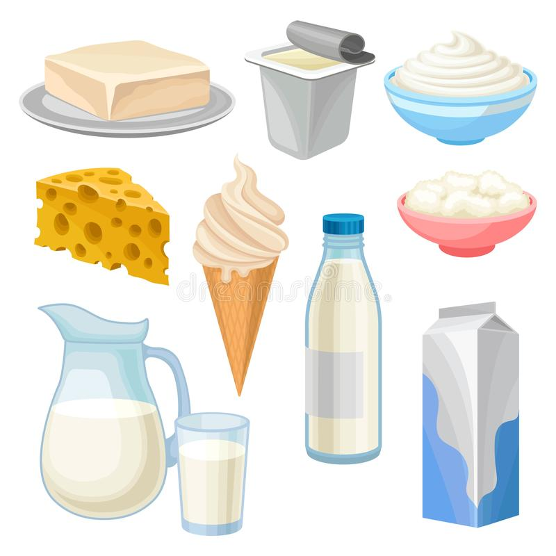 Dairy products set, butter, yogurt, bowl of sour cream and cottage cheese, ice cream, jug and glass of milk and cheese royalty free illustration