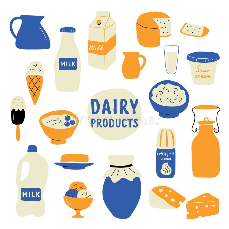 Dairy products set: milk, cheese, butter, sour cream, ice cream, yogurt, cottage cheese. Doodle hand drawn vector illustration stock illustration