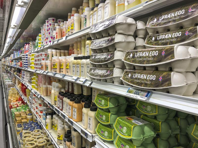 Dairy products of a supermarket in Reykjavik, Iceland royalty free stock photography