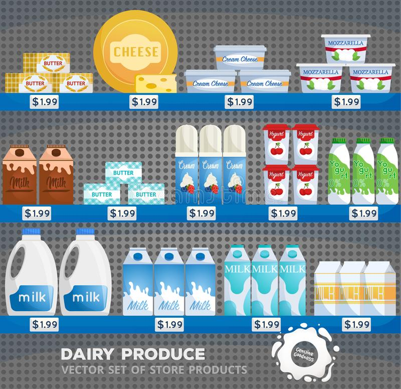 Dairy products. Supermarket store interior with goods. Milk and yogurt, cheese at supermarket showcase. stock illustration