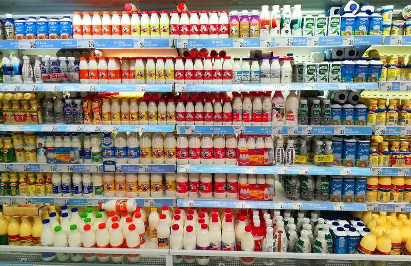 Dairy products in the supermarket stock photo