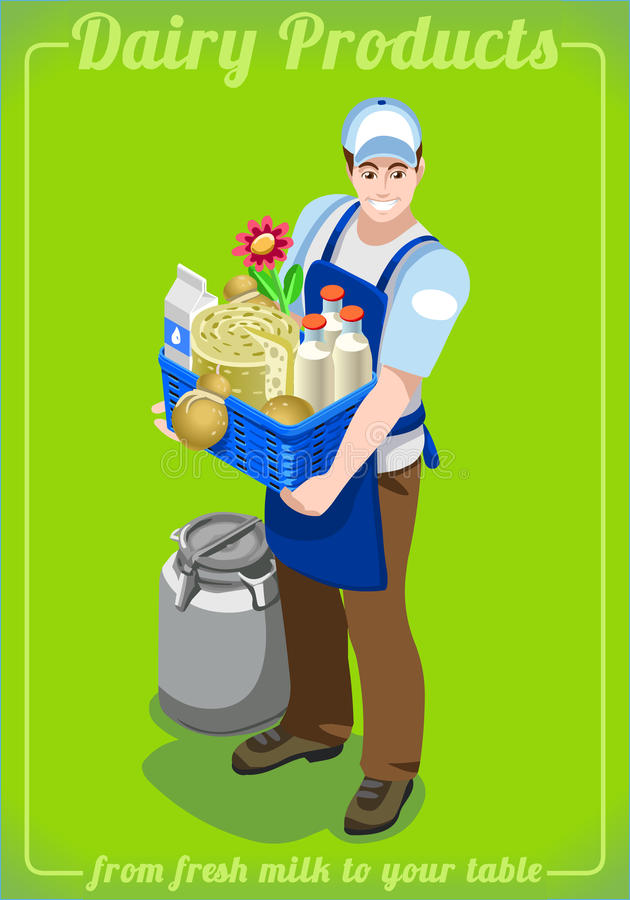 Dairy Services People Isometric vector illustration