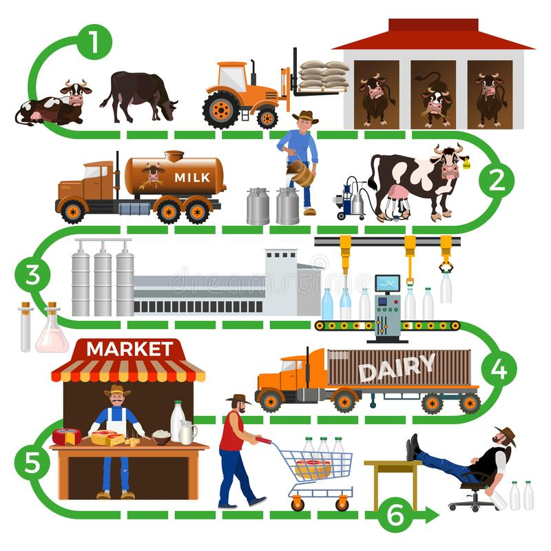 The dairy supply chain vector illustration