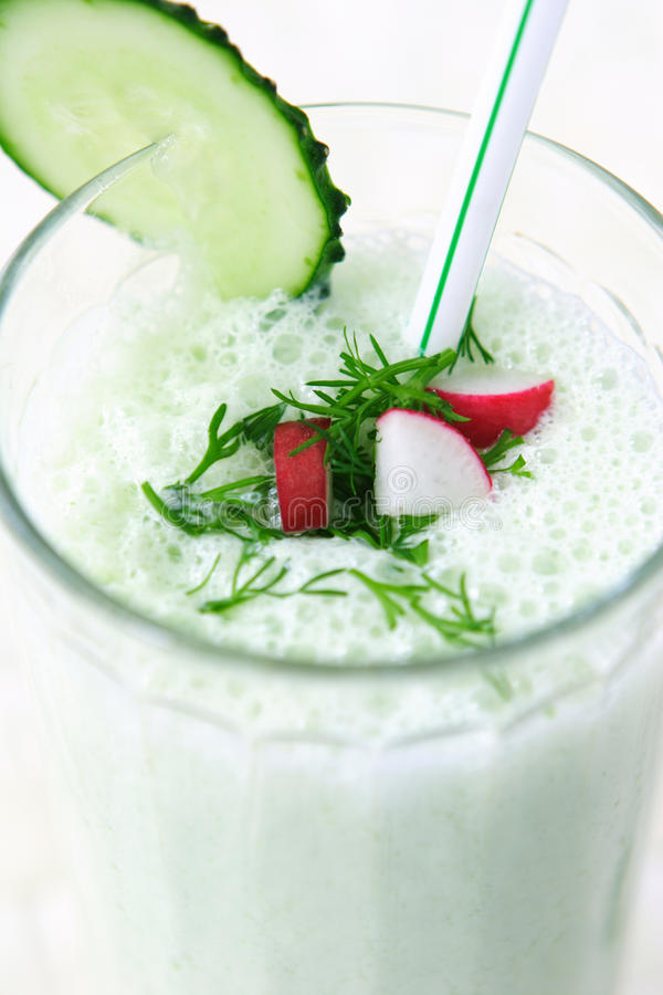 Dairy vegetable cocktail. With radish, dill, cucumber and yogurt stock image
