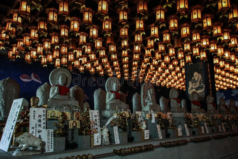 Dark Room of Lanterns, Daisho-in temple, Miyajima, Hiroshima, Japan. Daisho-in is one of the most important temples of Shingon Buddhism. It is located at the royalty free stock images
