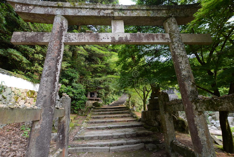 Daisho-in temple trail, Miyajima area, Japan. Daishō-in or Daisyō-in is a historic Japanese temple on Mount Misen, the holy mountain on the island of stock photo