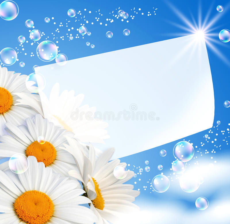 Daisies against the sky stock illustration