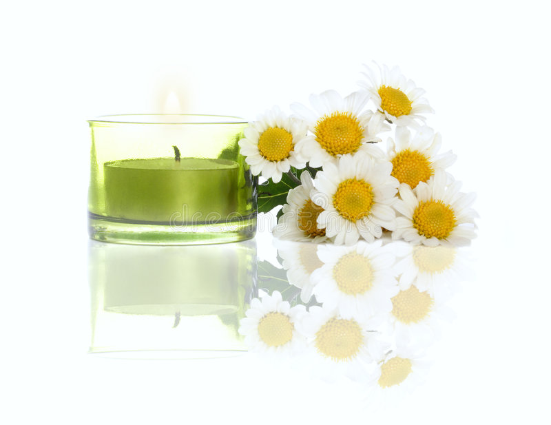 Download Daisies and candle stock photo. Image of calm, bath, medical - 1585580