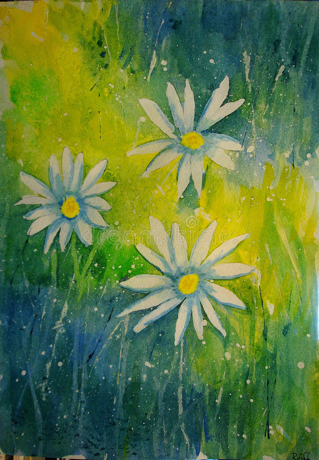 Daisies. Handpainted Watercolor, handgemaltes Aquarell, Impressionen royalty free illustration