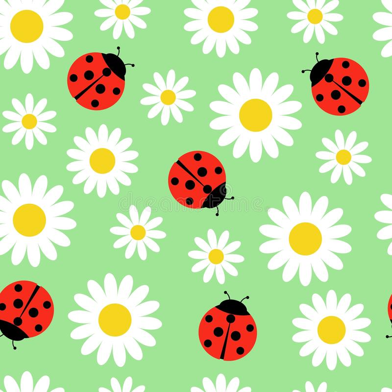 Daisies and ladybugs seamless pattern. Vector illustration on green background.  royalty free illustration