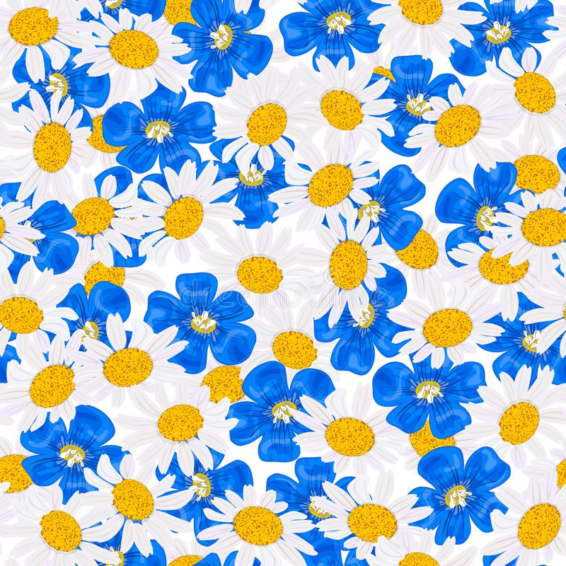 Daisy and blue flowers, seamless pattern Vector. flax, chamomile wildflower heads vector illustration