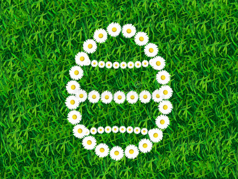 Daisy chain in shape of Easter egg on grass background vector illustration