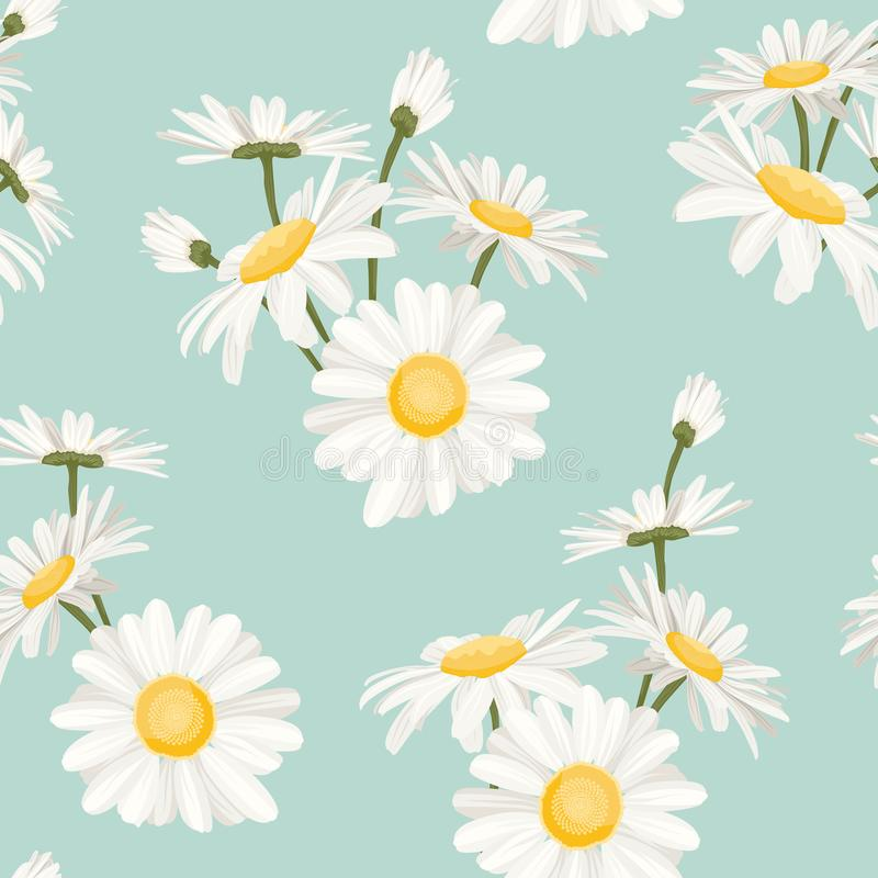 Daisy chamomile spring summer flowers pattern. Daisy chamomile field meadow spring summer flowers seamless pattern on light blue sky background. Trendy ditsy royalty free illustration