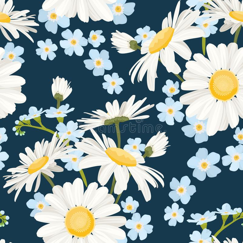 Daisy chamomile and forget-me-not field meadow spring summer flowers seamless pattern on navy blue background. royalty free illustration