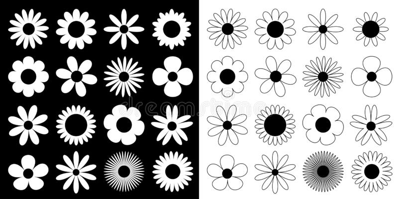 Daisy chamomile silhouette icon. Camomile super big set. Cute round flower head plant collection. Love card symbol. Growing. Concept. Flat design. Black White vector illustration