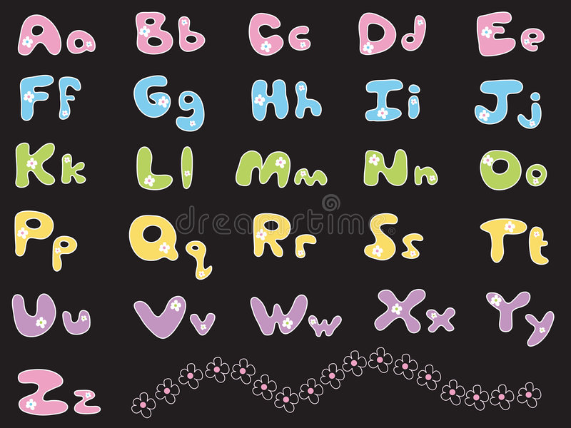 Daisy colourful alphabets. Illustrated font / own design stock illustration