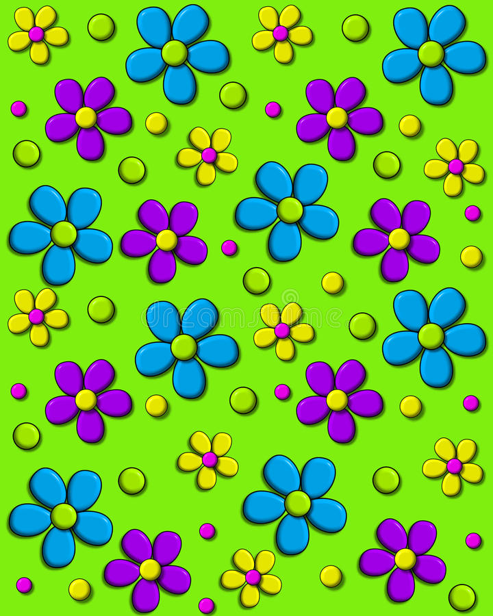 Daisy Fill Bright Green. Background image is bright green and covered in 70s style daisies in aqua, purple and yellow. Polka dots and hearts fill in between stock illustration