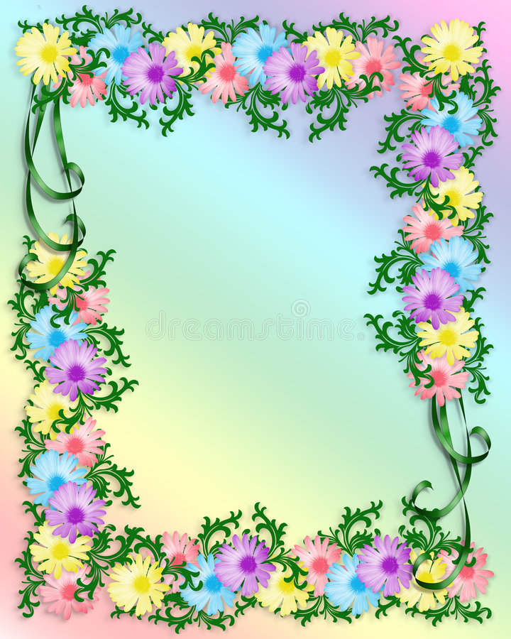 Daisy Floral Invitation Background stock illustratie