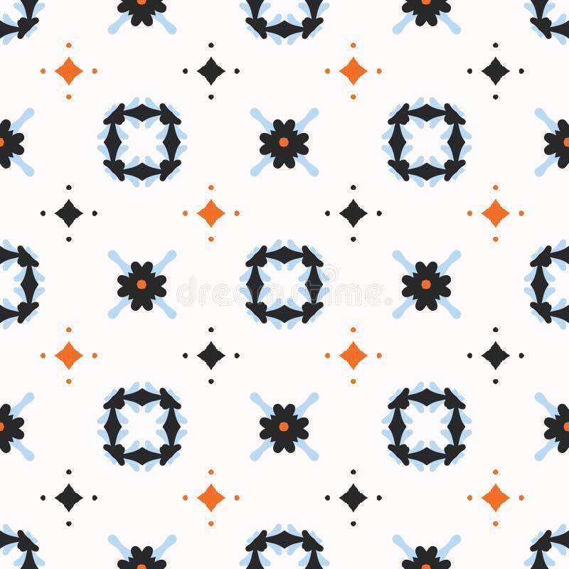Daisy Floral Vector Pattern Hand retra dibujada, ejemplo inconsútil de la flor del estilo del vintage stock de ilustración