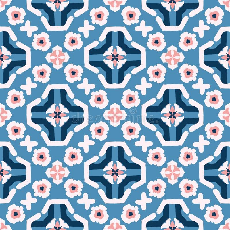 Daisy Floral Vector Pattern Hand retra dibujada, flor inconsútil del estilo del vintage ilustración del vector